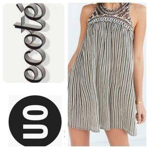 UO Ecote Striped Lattice Dress, L - EUC